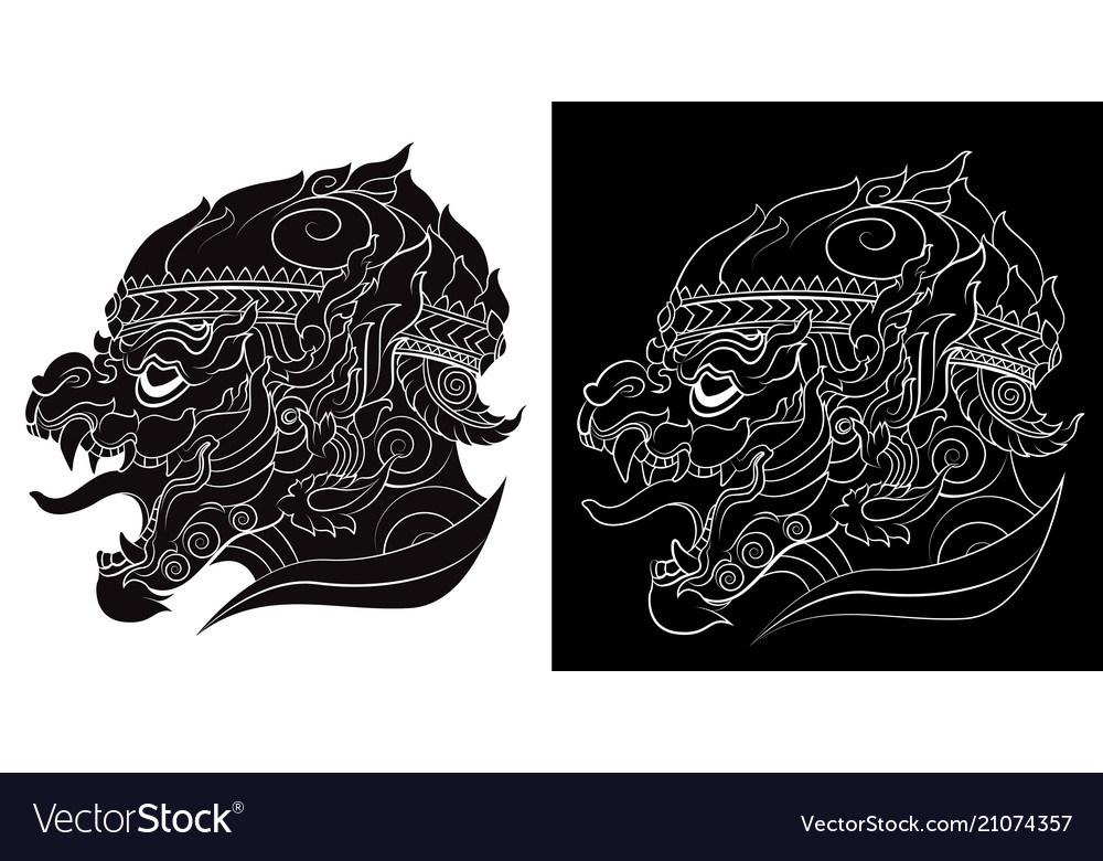 Drawing of a hanuman silhouetted on white