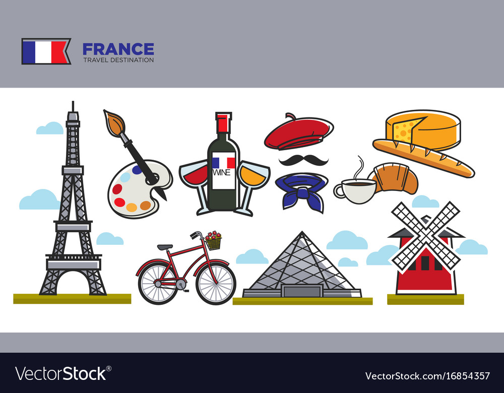 France travel destination banner with national