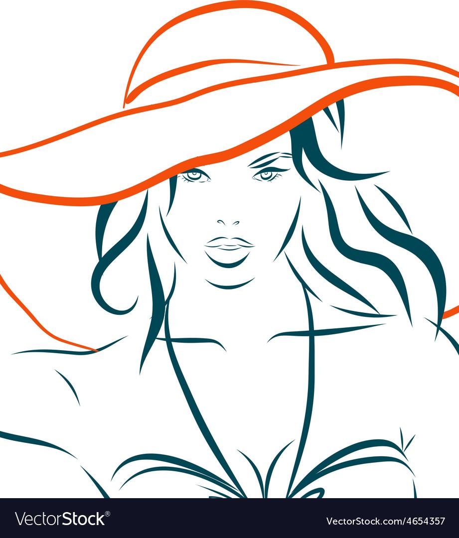 Girl in bikini and hat on a white