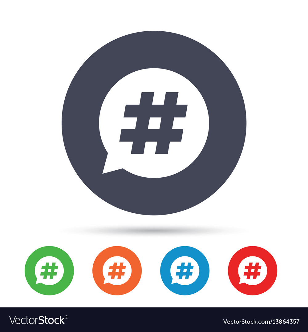 Hashtag speech bubble sign icon
