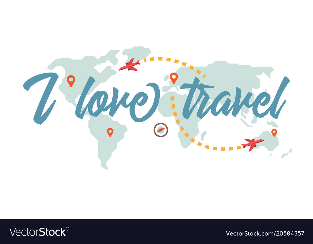 I love travel vector