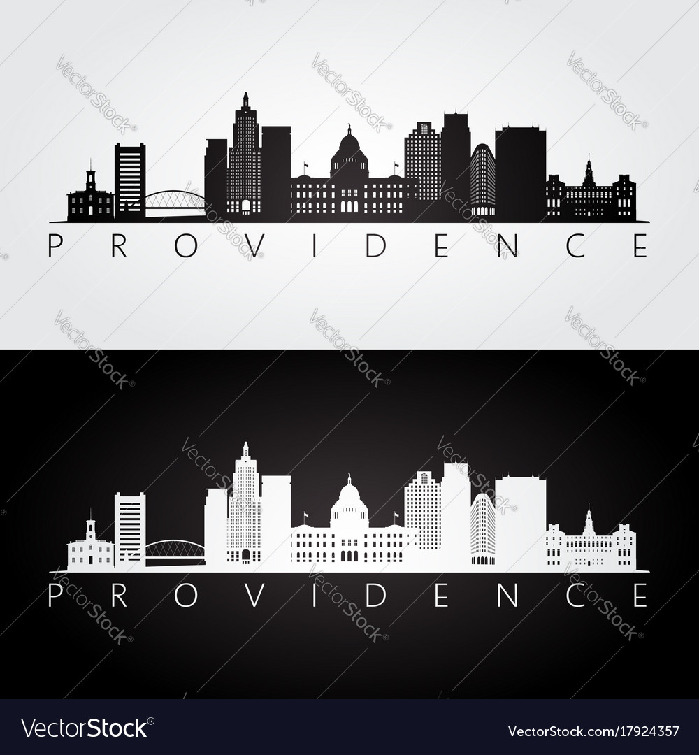 Providence usa skyline and landmarks silhouette
