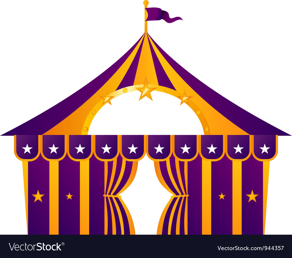 Purple circus tent isolated on white vector image
