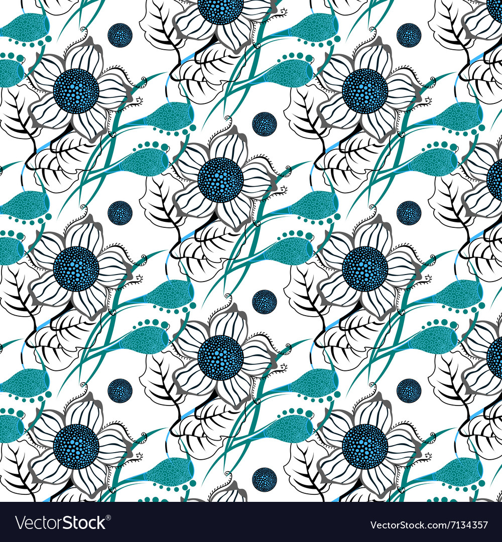 Repeating Modern Floral Background Pattern Vector Image