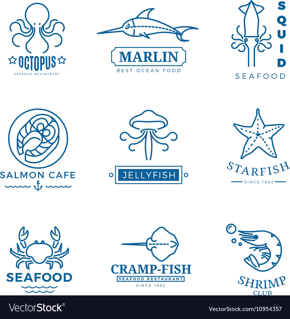 Seafood labels thin line logos emblems vector image