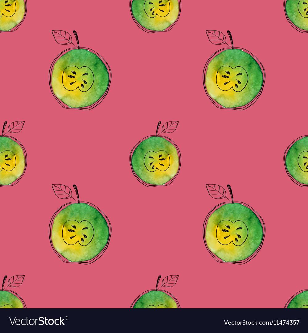 Seamless pattern of watercolor green apple