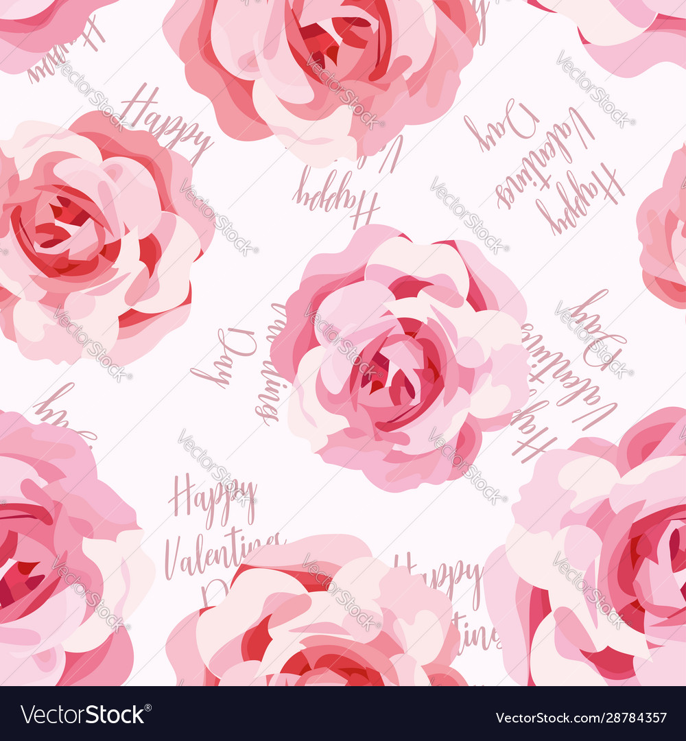 Seamless pattern roses happy valentines day