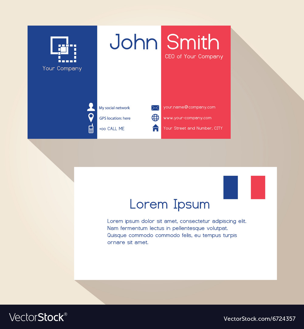 Simple france colors business card design eps10 vector image colourmoves