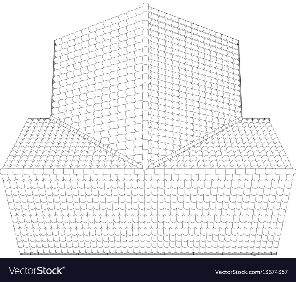 Sketch Of A House Roof Painted Lines And Curves Vector Image