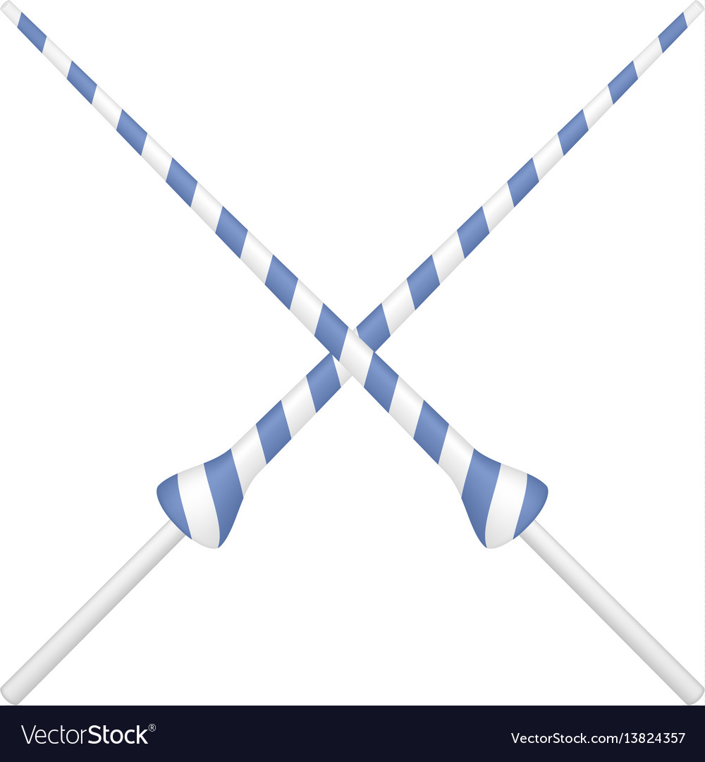 Two crossed lances in blue and white design vector image