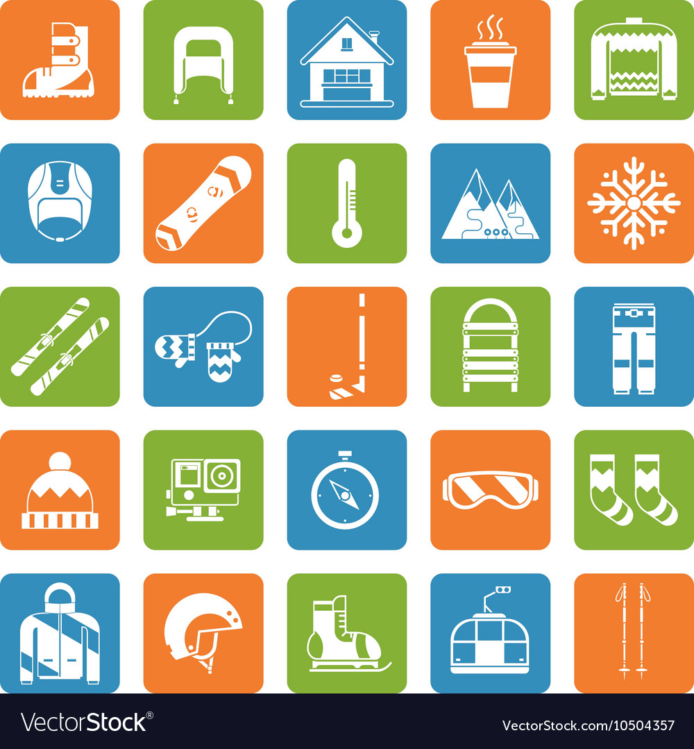 Winter Activity Games and Fun Outline Icon Set vector image