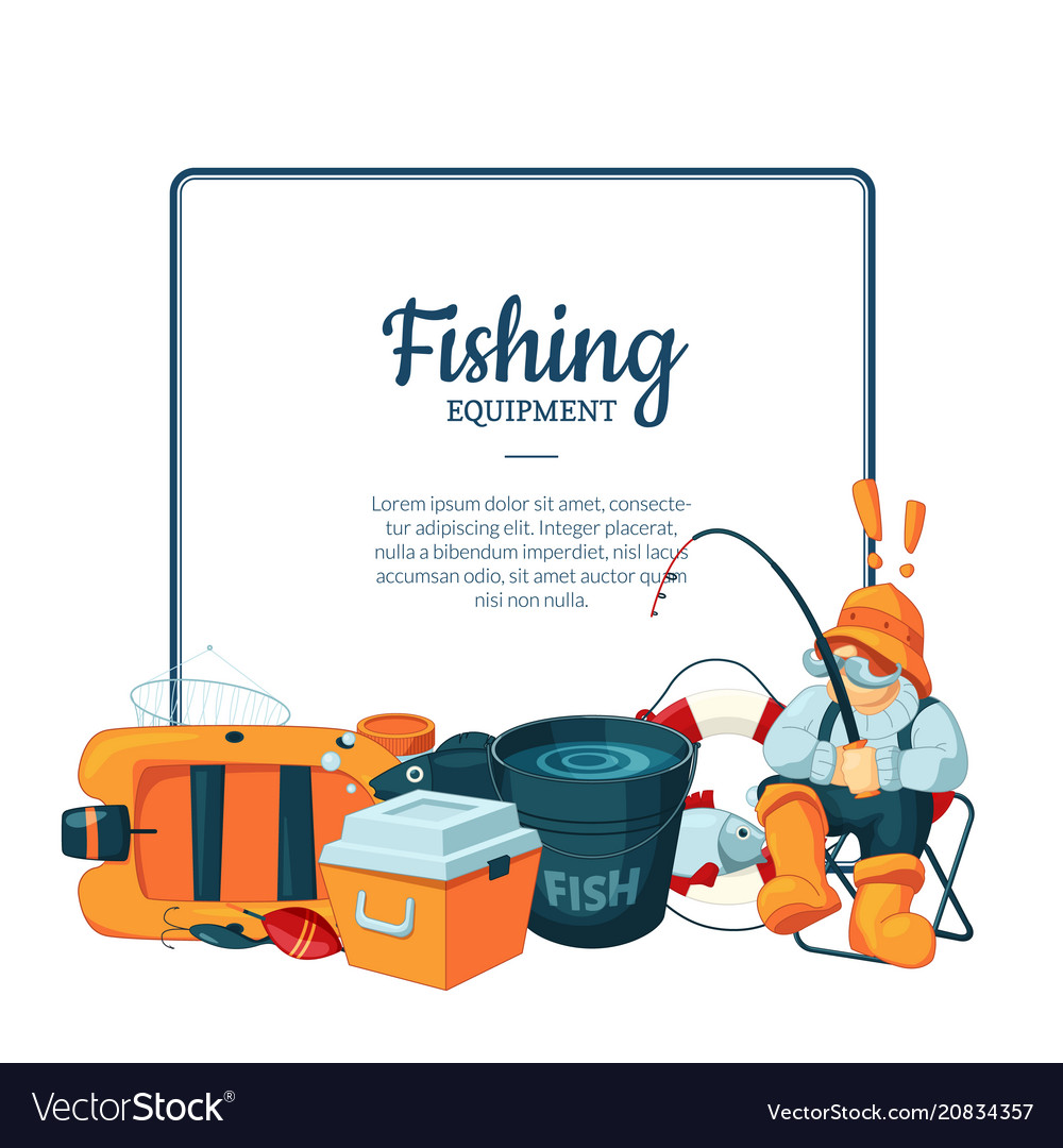 With cartoon fishing equipment