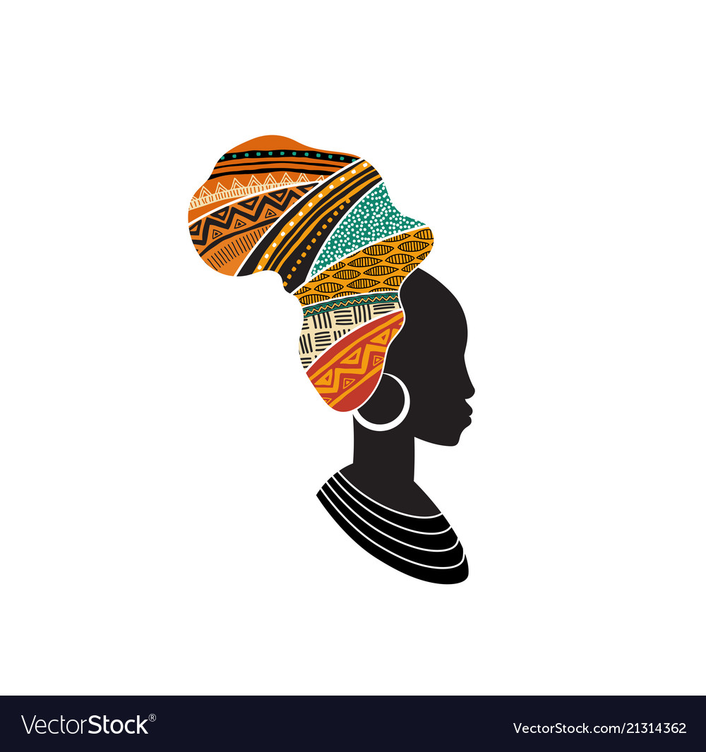 African woman silhouette with an african map as a