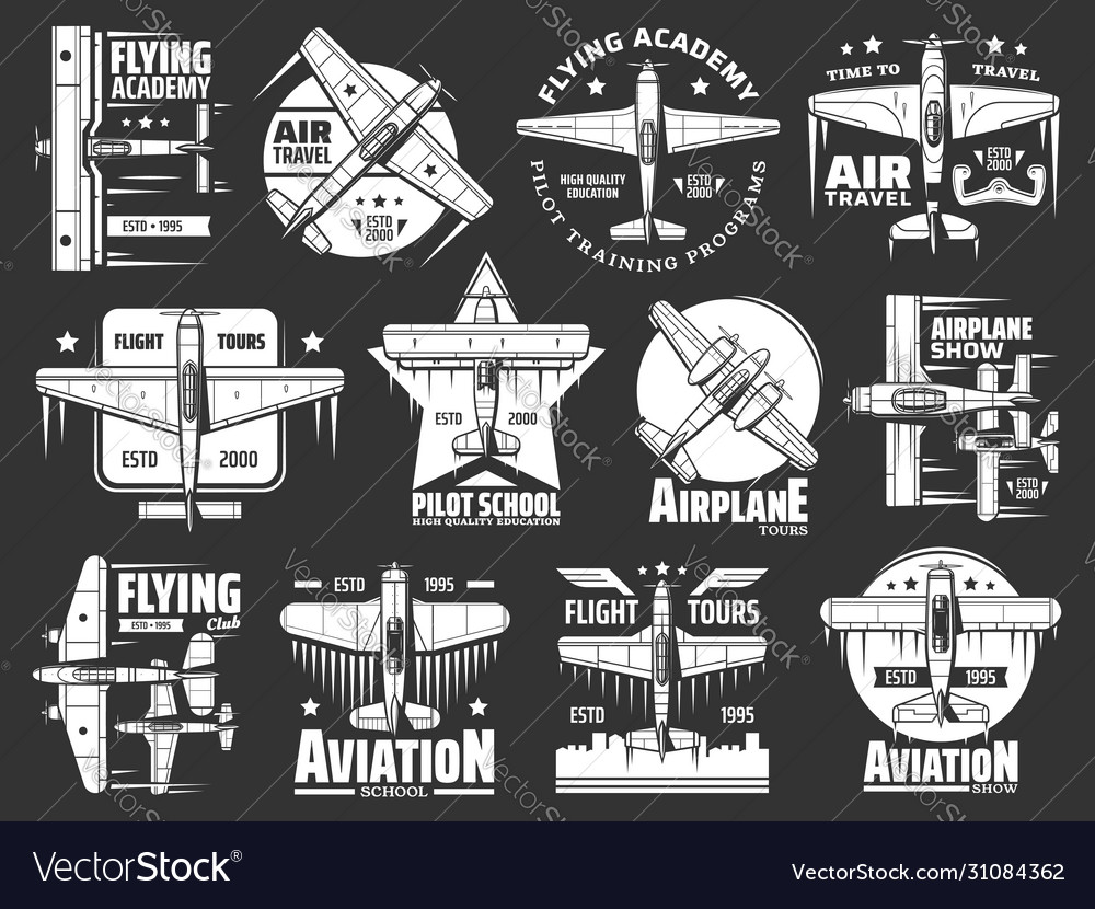 Aviation school and academy icons airplane pilot