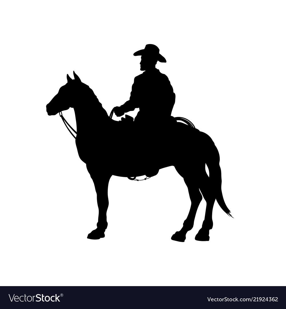 Black silhouette cowboy on horse