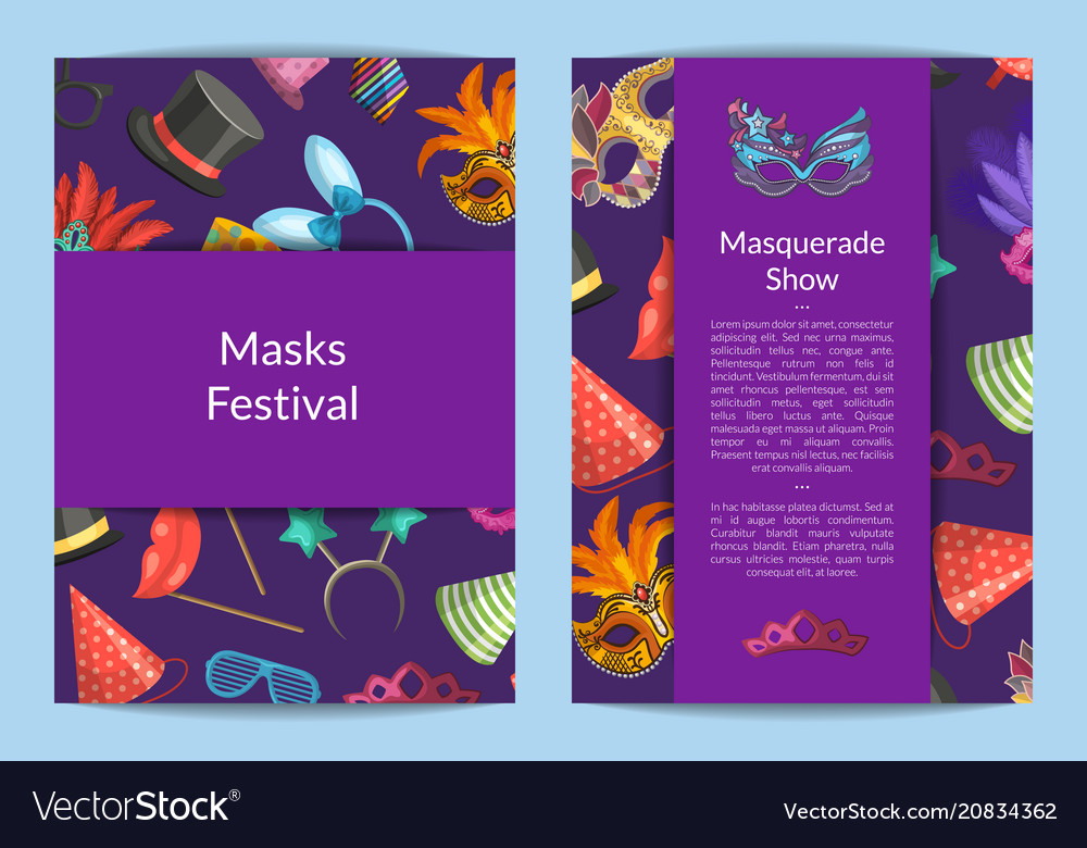 Card or flyer templates set with masks and