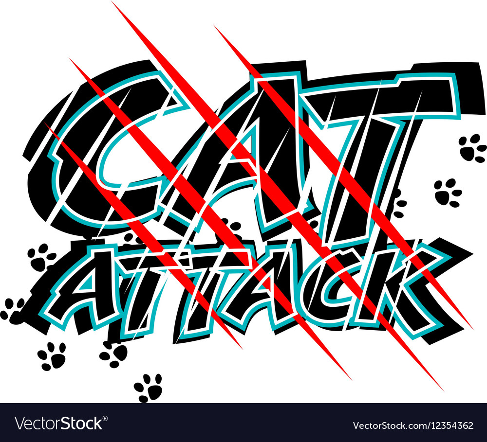 Cat attack vector image