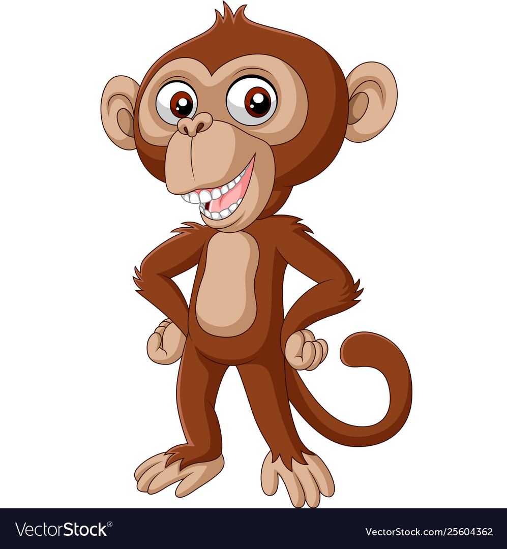 Cute bachimpanzee cartoon posing