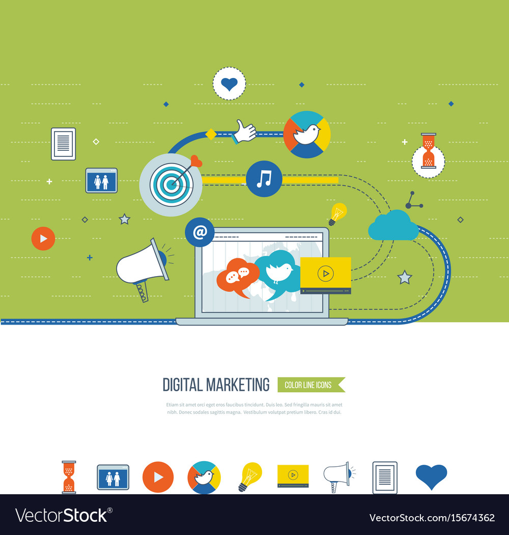 Digital marketing and social network concept