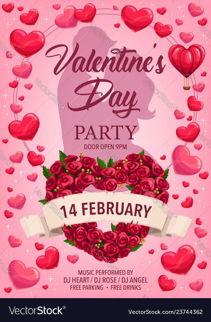 Loving couple hearts roses valentines day party