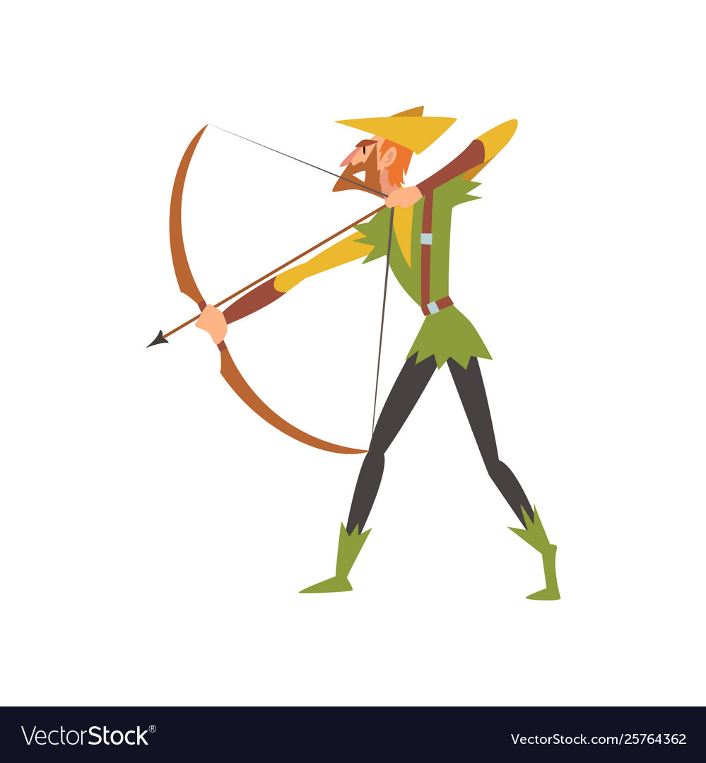 Male archer with bow medieval historical cartoon
