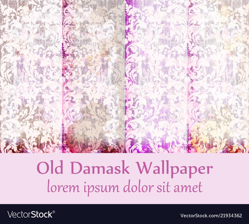Old damask ornament set backgrounds
