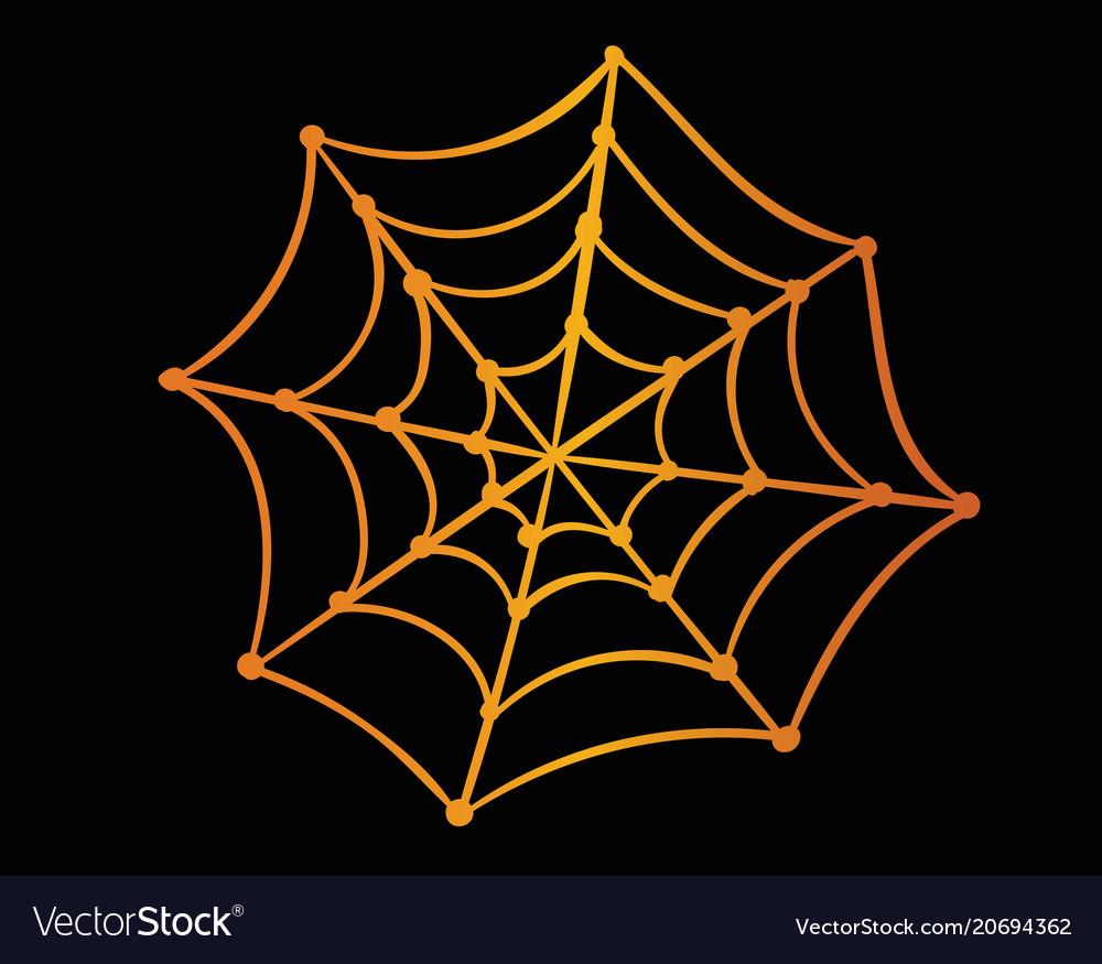 Orange gradient halloween holiday spider web flat