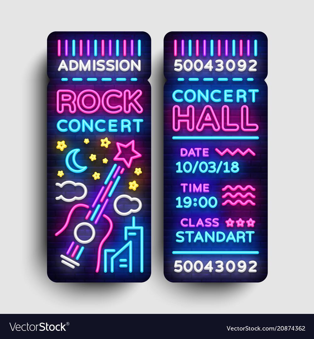 rock concert ticket design template in modern vector image