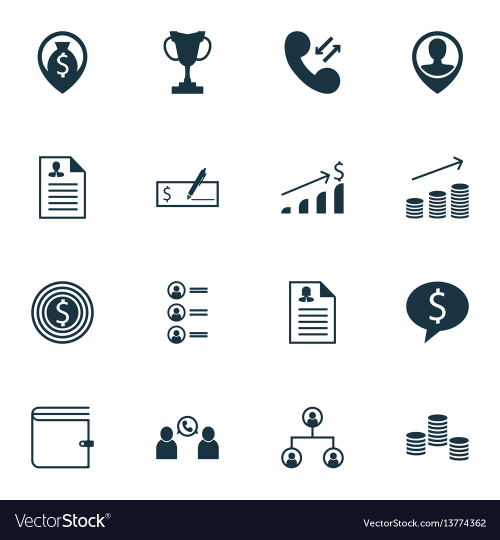 Set of 16 human resources icons includes money vector image