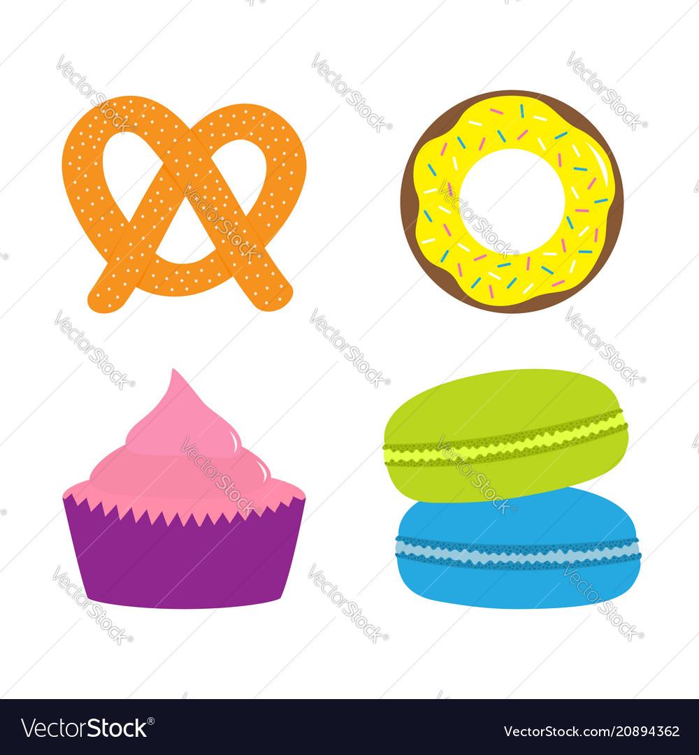 Soft pretzel donut cupcake macaron or macaroon