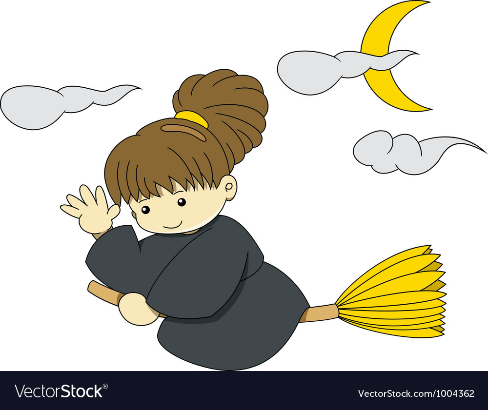 Witch is flying with broom on halloween