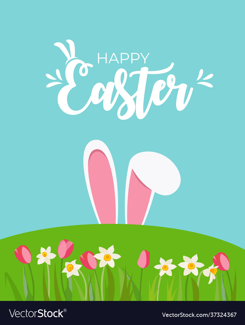 Cute cartoon happy easter spring holiday