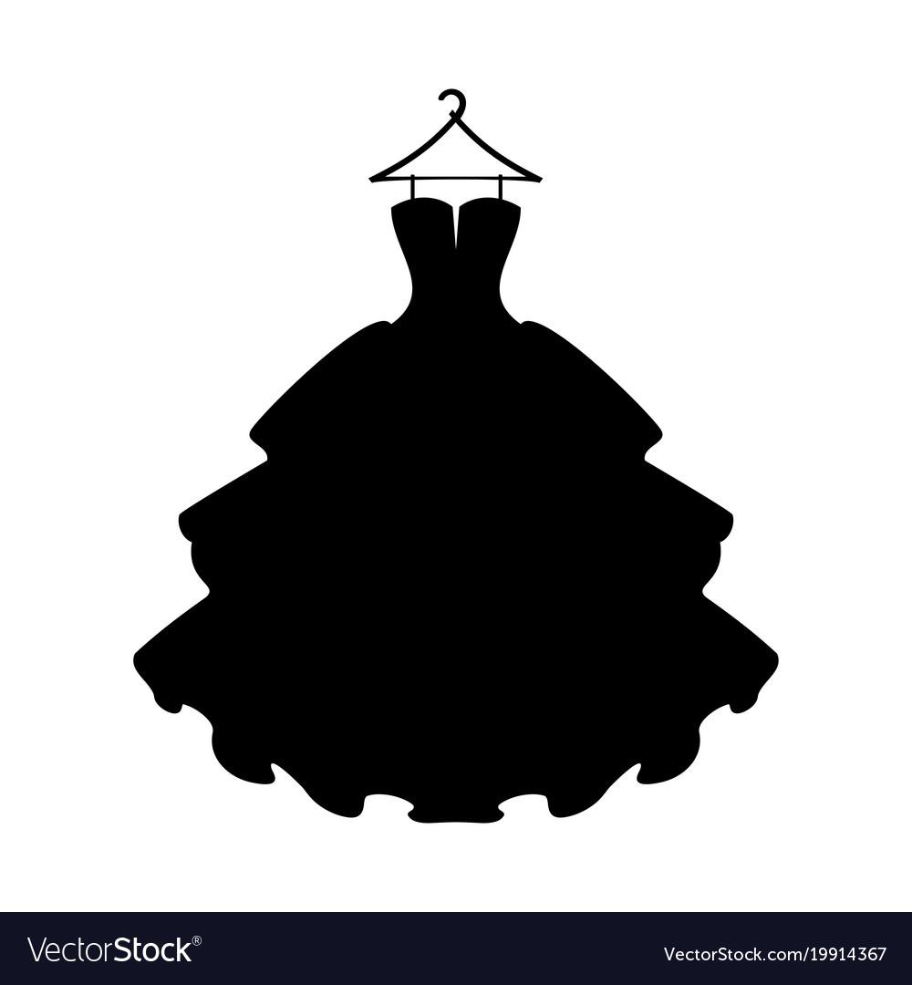 Dresses Black Dress Silhouette Of Dress On White Vector Image