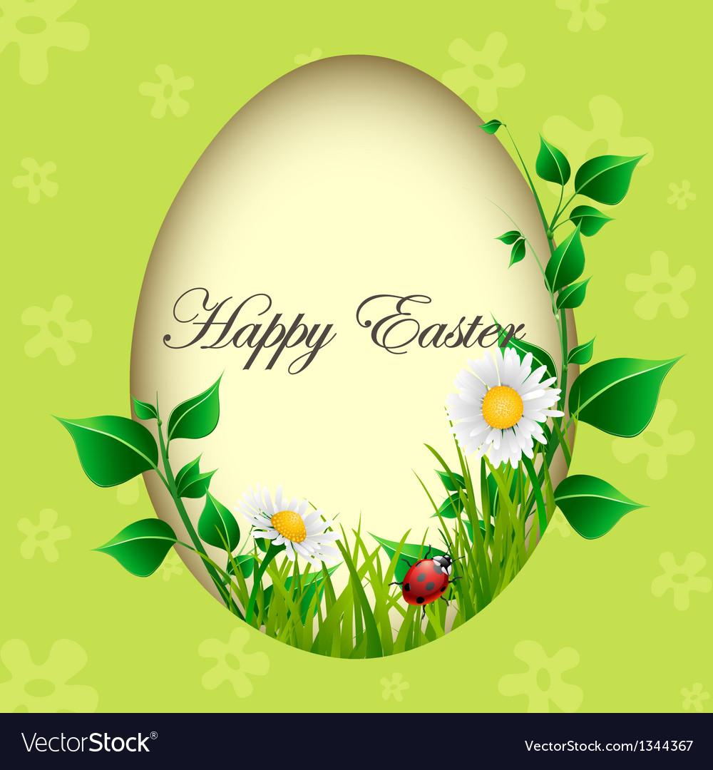 Easter egg card with plants and ladybug
