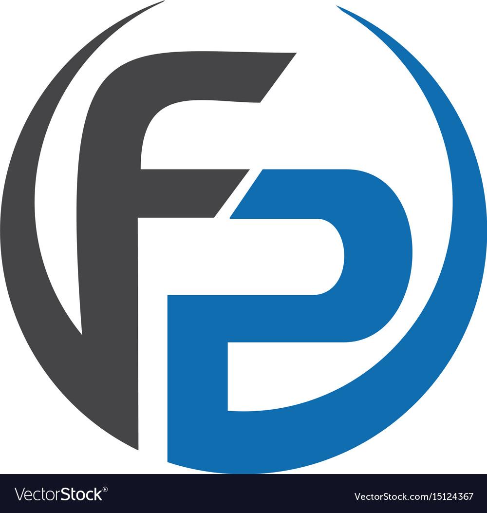 fp letter business logo design royalty free vector image