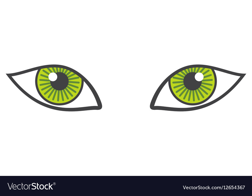 Green eyes isolated over white