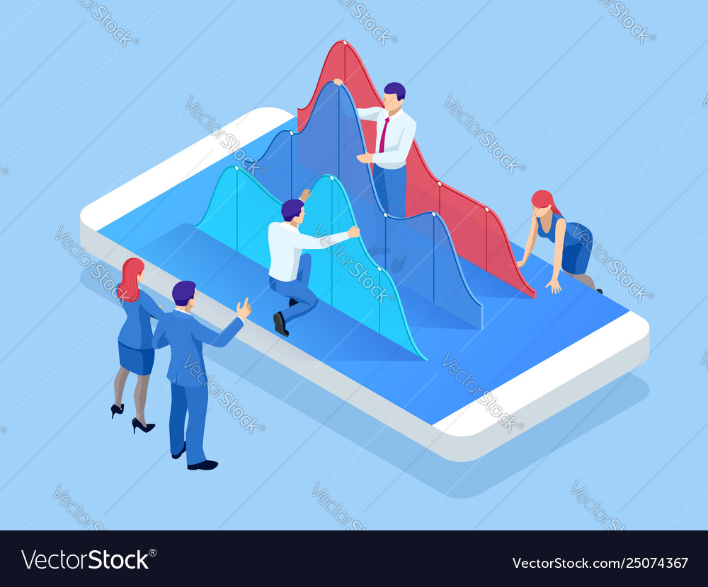 Isometric mobile phone with chart diagram
