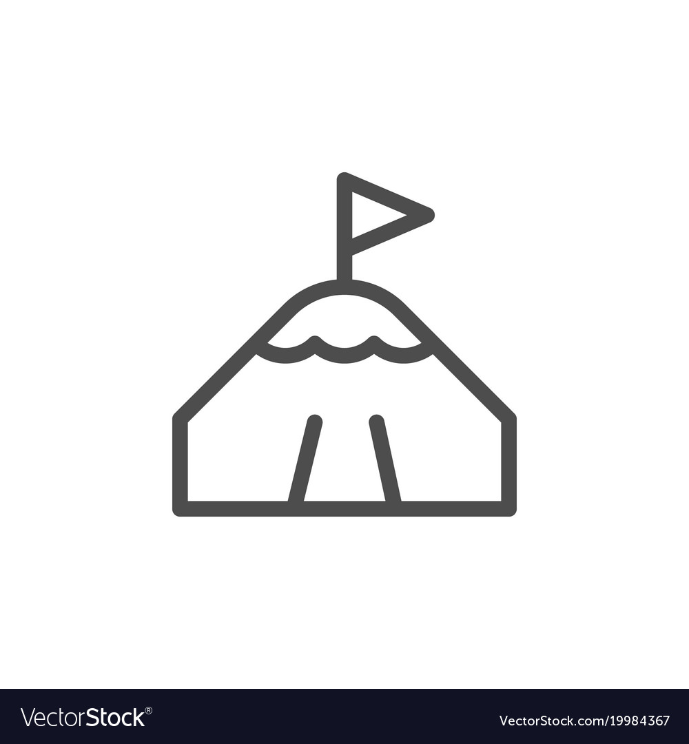 Mountain peak line icon
