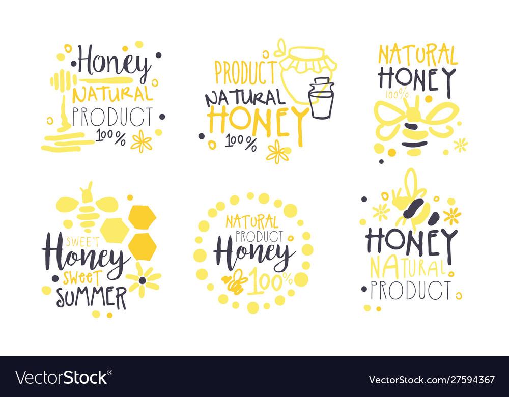 Natural honey product logo set sweet summer