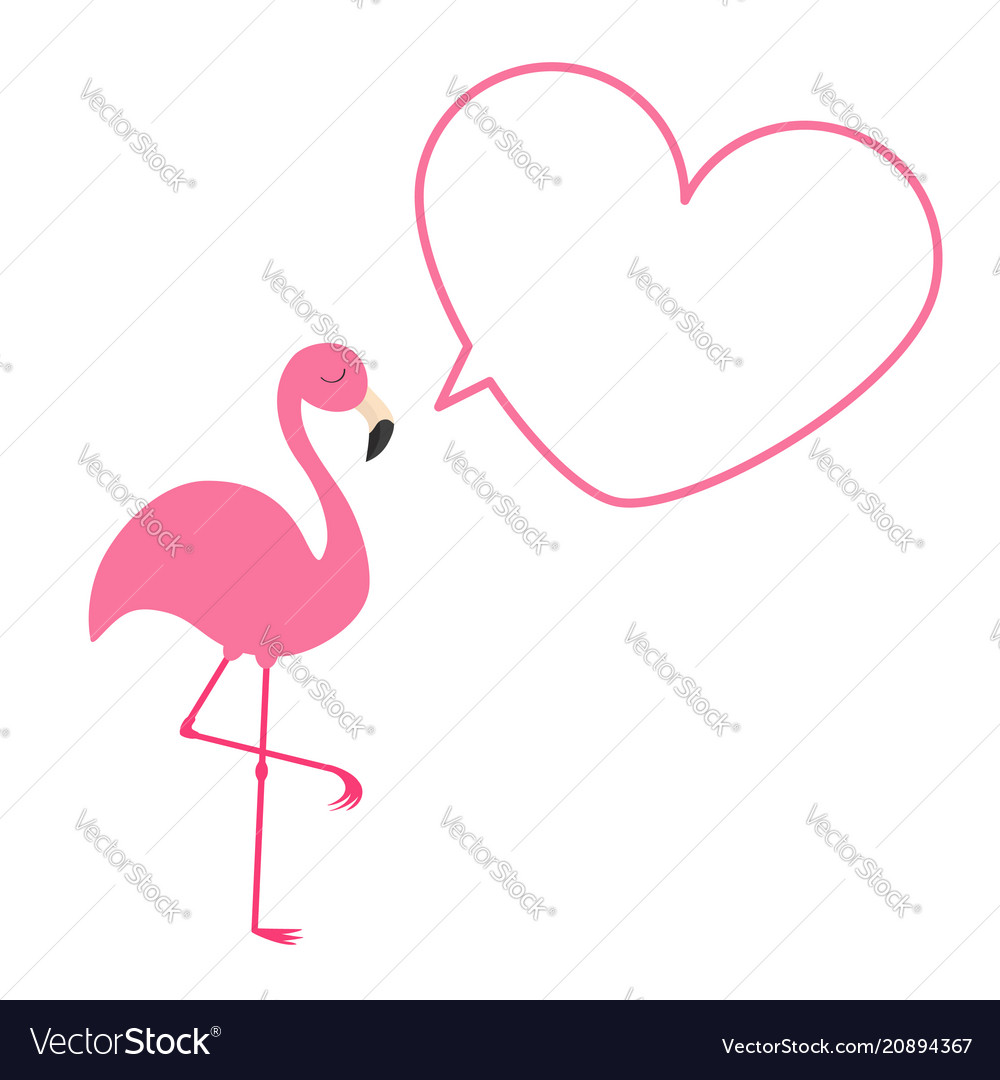 Pink flamingo heart frame talking bubble template Vector Image