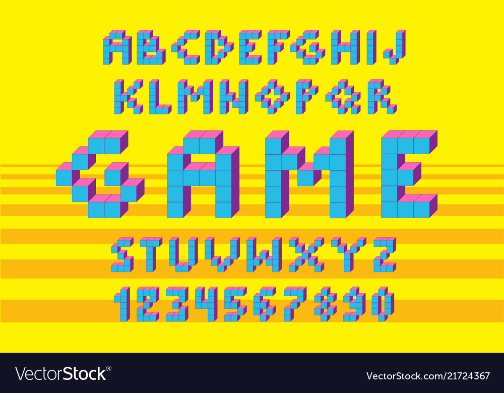 Pixel retro video game font 80 s retro alphabet
