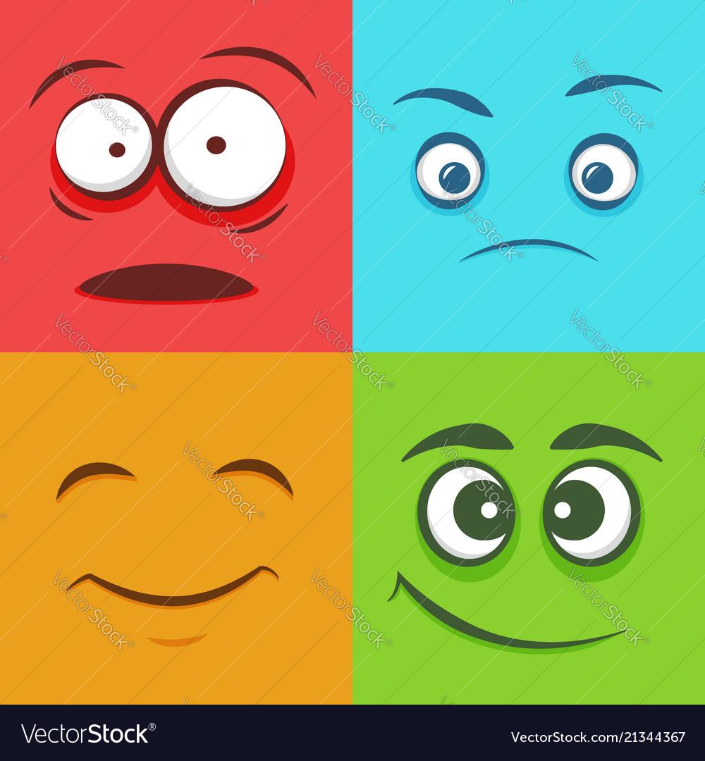 Set of colorful faces emoticons emoji flat pattern