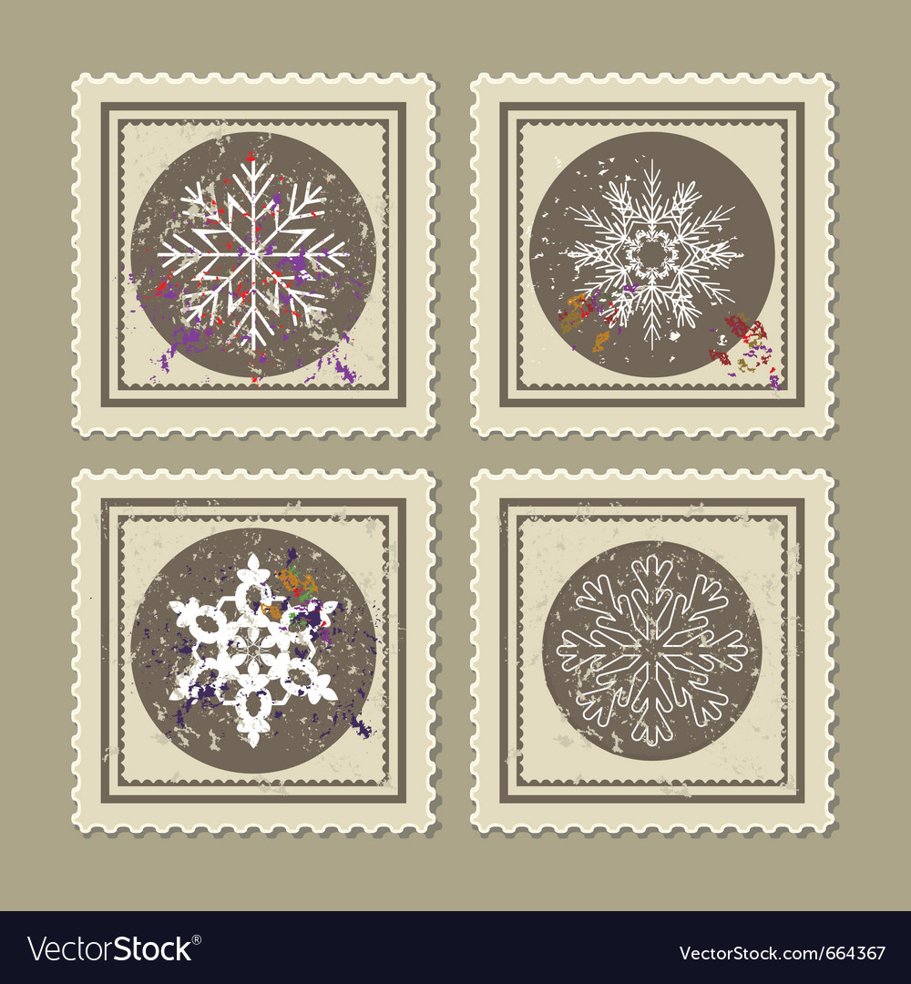 Set of retro christmas postage stamps
