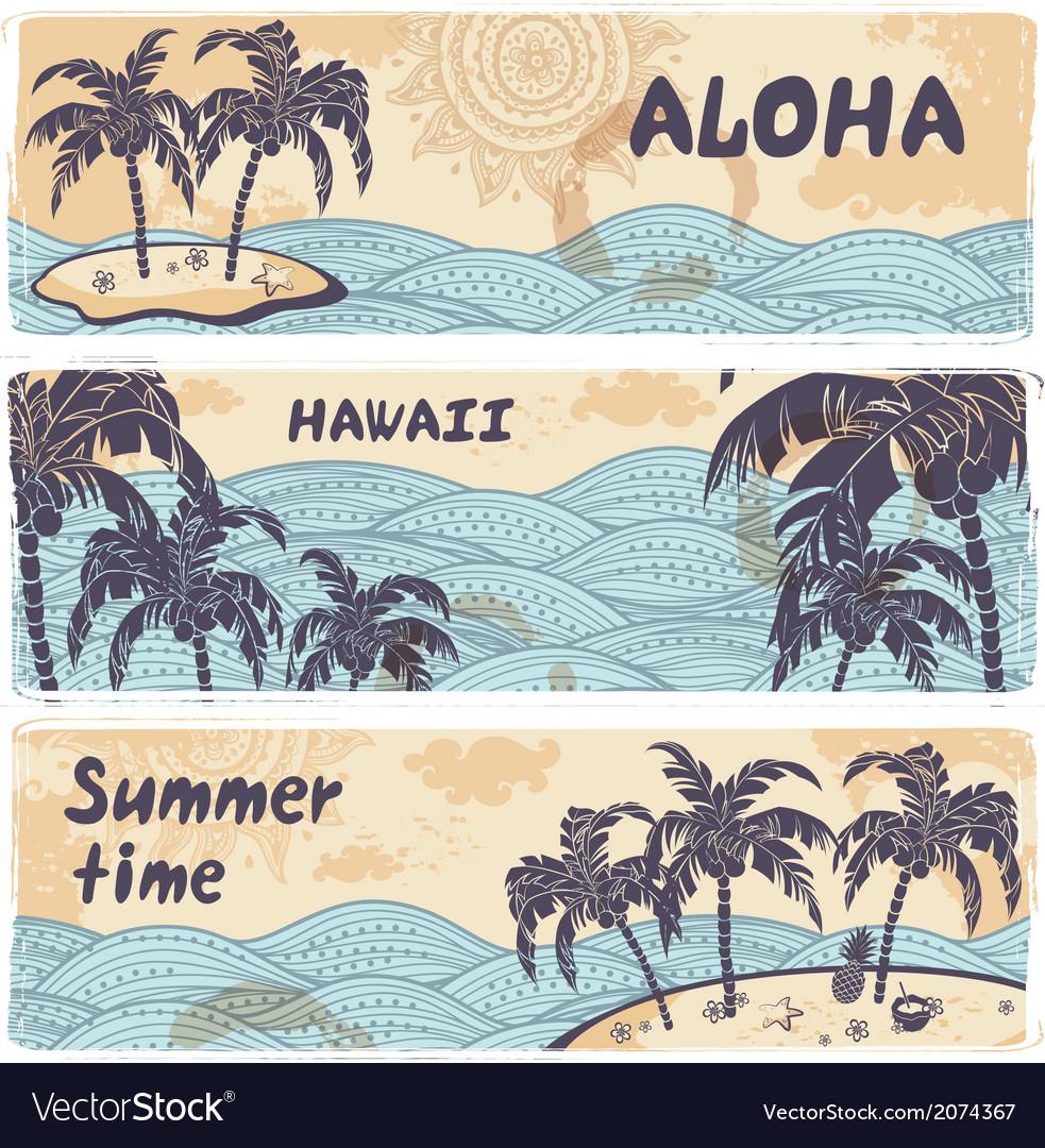 Vintage banners islands in ocean