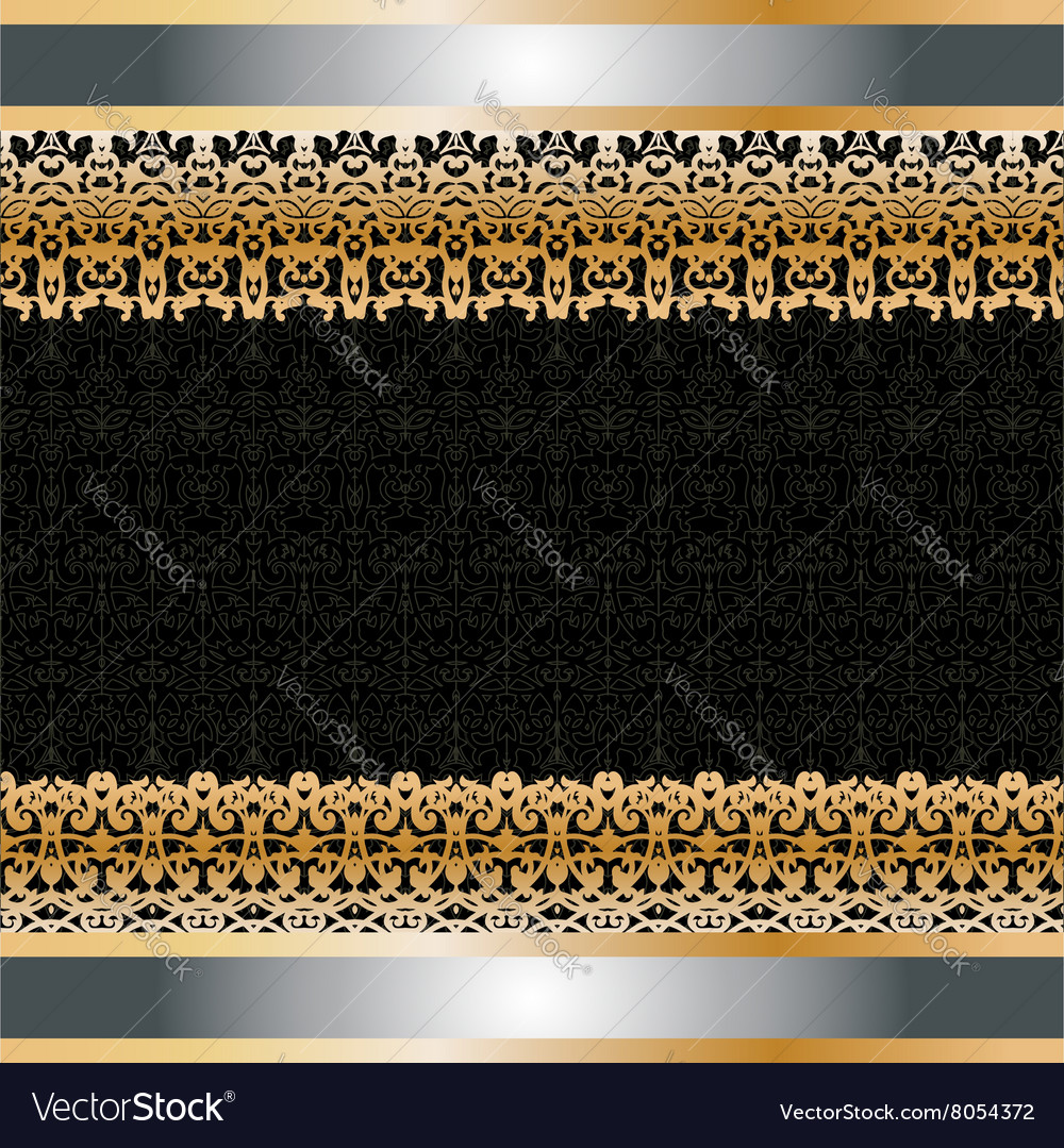 Card withgolden ornament on the edge vector image