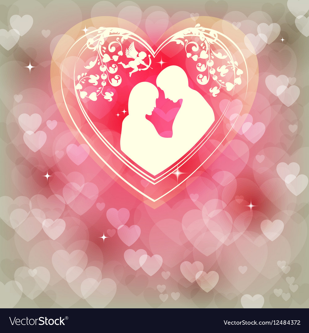 Gentle pink background with hearts