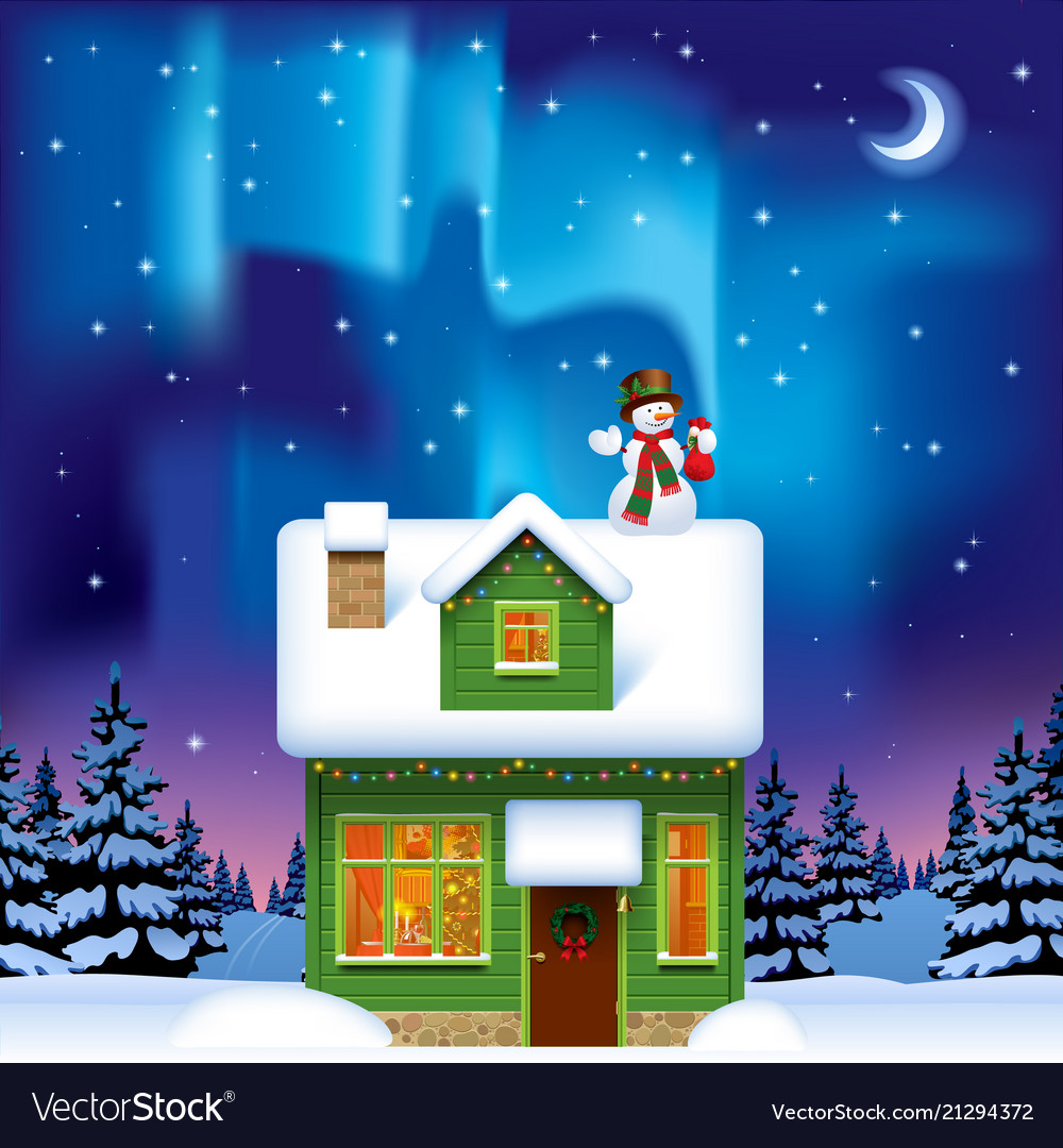 Green wooden house with a snowman against