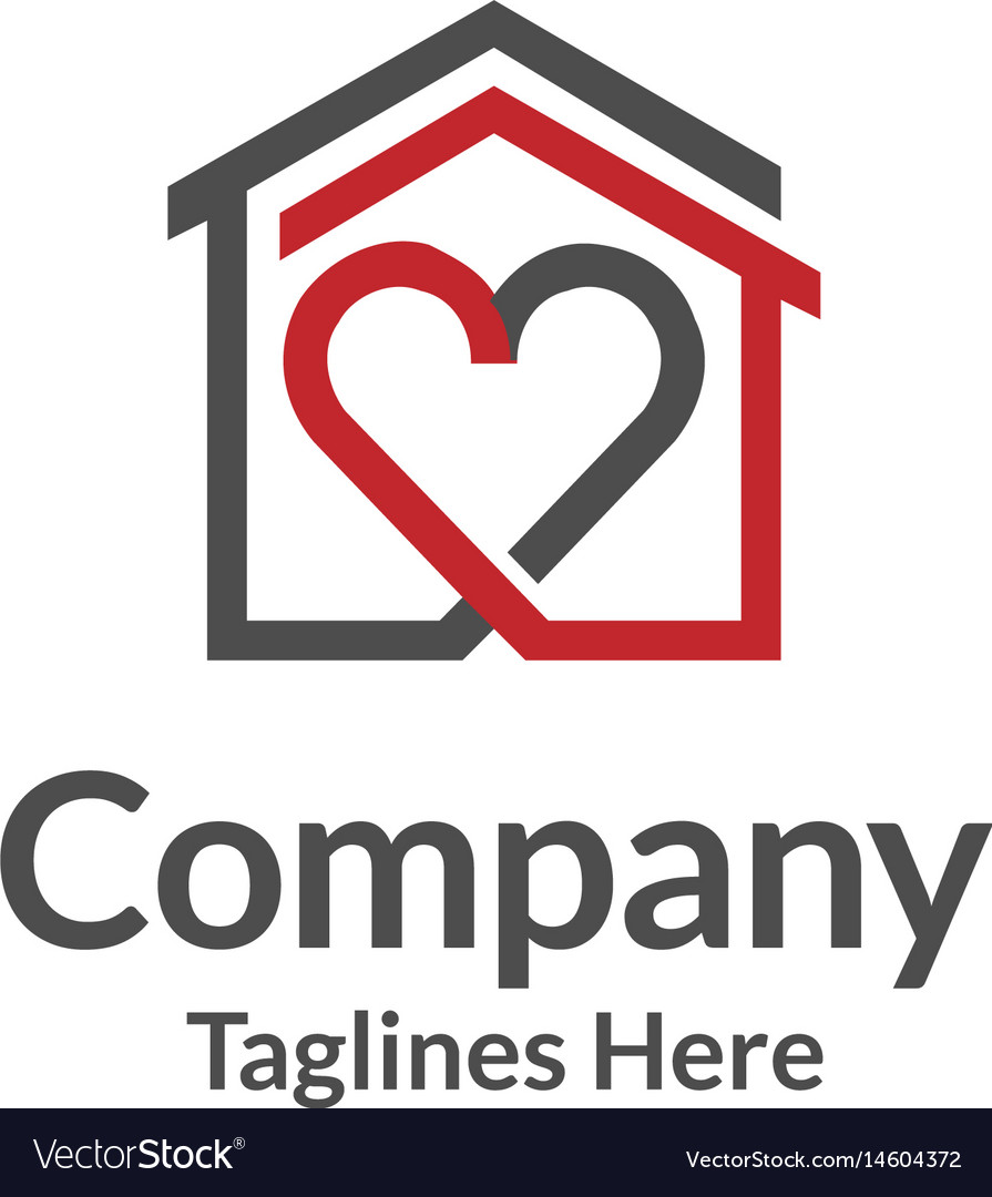 House and heart logo home care logo