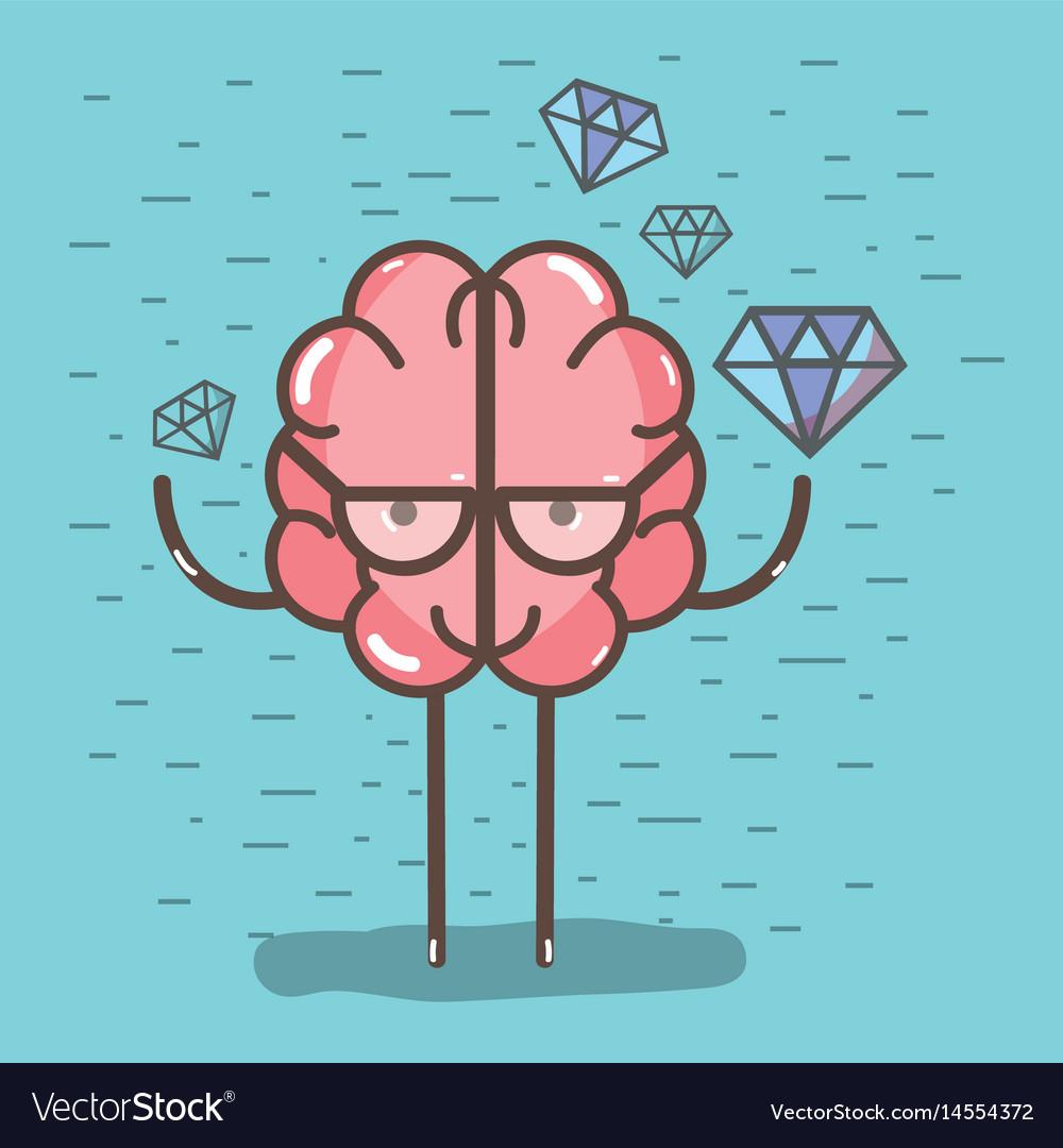 Icon adorable kawaii brain with a lot of diamond