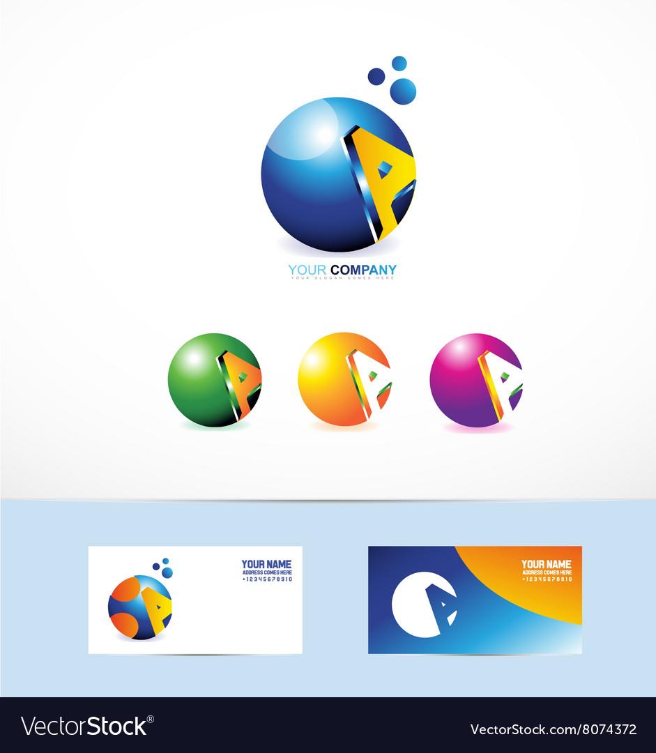 Letter A sphere logo vector image